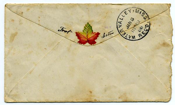 1913 letter envelope<br /> Flap side