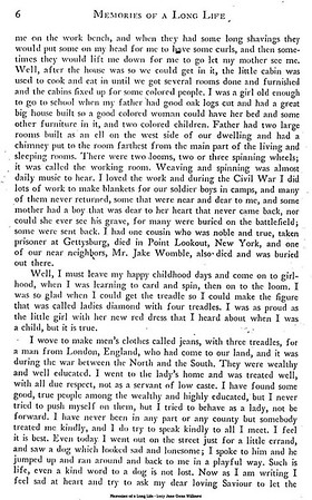 "Memories of a Long Life (page 6 of 33) - Weaving a tale of Chimneys and Rooms - (and putting the spin on) - Civil War collects a toll - ""Ladies diamonds"", blankets and jeans - even a Dog needs a Kind Word."