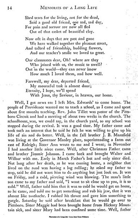 Memories of a Long Life (page 14 of 33) - Another Little Niece - Albert's Sister dies early March 1877- Albert takes ill about 2 weeks afterward - Sister Maggie and Mary very ill
