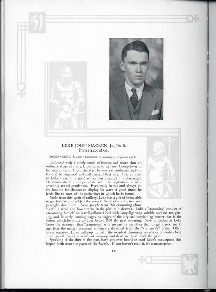 Luke John Macken, Jr., Holy Cross Yearbook, 1931