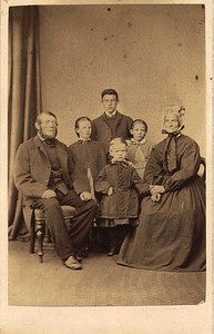 David Allan and family: Magdalene is possibly the young girl next to him. Elizabeth Telfer Allan on right. Photo taken in Scotland.   Janet was 2 years older than Magdalene, but the picture looks more like Magdalene here. Photo was taken in the 1860's.