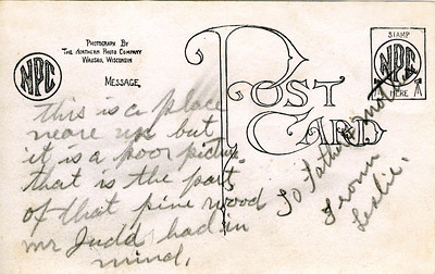 Back of postcard from Leslie to his parents from Minocqua, WI