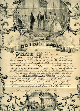 John Mapes & Josephine Fittshur certificate of marriage