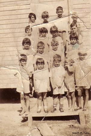 Pleasant Hill Sunday School Class  1st Row - 3rd-Melvin, 4th-David & 5th-Kathryn  2nd Row - 3rd-J W Back Row - 4th-John (About 1929)