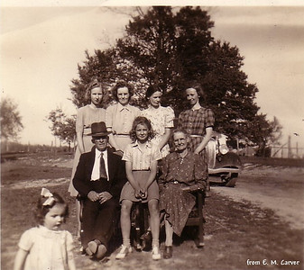 Foreground: Jane; Front: Will, Jimmie & Verda Back: Kathryn, Lois, Vernon & Vhasti - (about 1941)