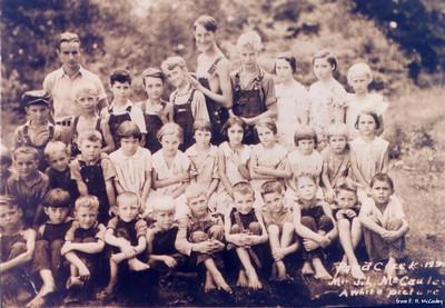 Pond Creek School, Greenville - 1934 Front Row: 5th-Harold, 6th-Junior, 9th-Melvin, 10th-Marvin 2nd Row: 1st-Jimmie (partially cut off), 10th-Doris Back Row: 2nd-Joe (teacher), 3rd-David, 8th-John, last-Kathryn