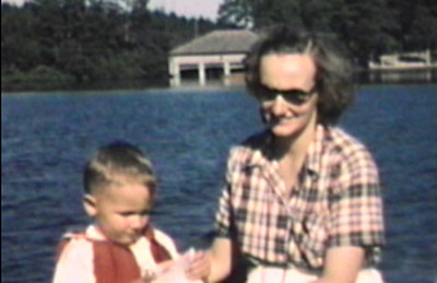 1949 Arnold's Park, IA Jane and Miles in boat.