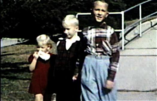 1955 Sioux City, IA Miles, Mark and Mary Jane near park entrance at 3630 Jennings St.