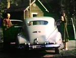 1948 Gapen's Lodge, Nipigon, Ontario Baa and Maa loading trunk of Buick to return home.