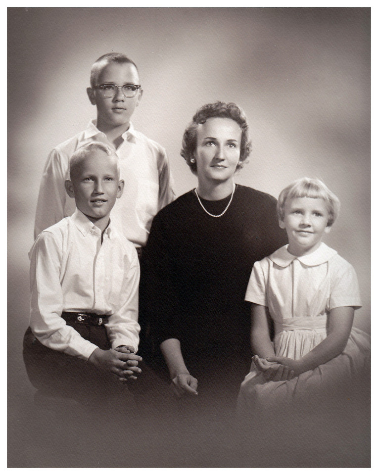 1959 St. Louis, MO Family portrait taken by Martin Schweig studios as a gift to Morrie from Jane.  Mark  (age 10), Miles (age 13), Jane (age 39) and Mary Jane (age 7).
