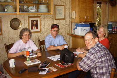 Family reunion at Roger's House Rita, Tyler, Janet and Roger  getting ready to go to the mountains for the day