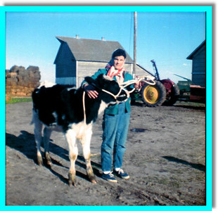 "Gail and ""Diamond"" her calf that went to County Fair in Holdrege, Nebraska"