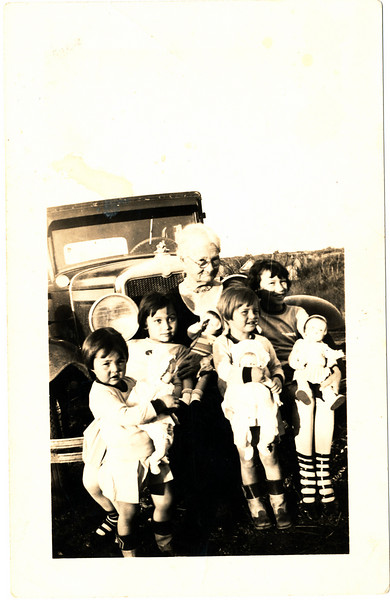 Sarah Melissa Robertson Caldwell (grandmother)<br /> others, left to right:<br /> Hazel Peyton Caldwell<br /> Fleta Doris McDaniel<br /> Lydia Katherine Caldwell<br /> Jimmie Gwynne Langford