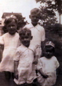 Baptism Day June 29, 1939. Pie, Dude, Chadwick, Carolyn.
