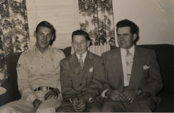 "Chad, Carleton and Charles ""Tip"" White. Spring 1952 at Dude's 8th grade graduation. Dude lived with the White family while attending 7th and 8th grade."