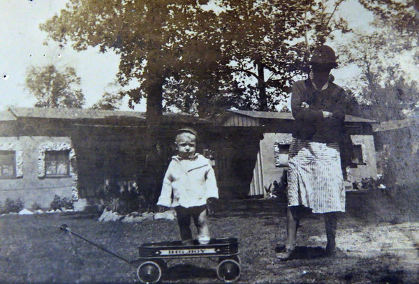 """Chad Werts (age 1) and Mammy the Midwife that referred to Catherine as """"Sugar Pie"""". April 1934. Jackson, MS."""