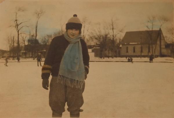"""Catherine """"Caddy"""" Werts skating Foster Park, Evanston, IL Jan 1925."""