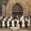 8th Grade Graduation St Mary's Evanston, IL 1917. Catherine McKulski 2nd row middle in front of Fr. Smyth.