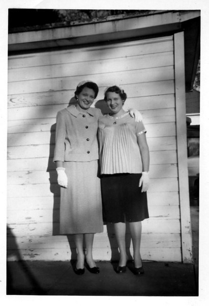 Wilma & Betty the day of mom & dads wedding.feb 1959.