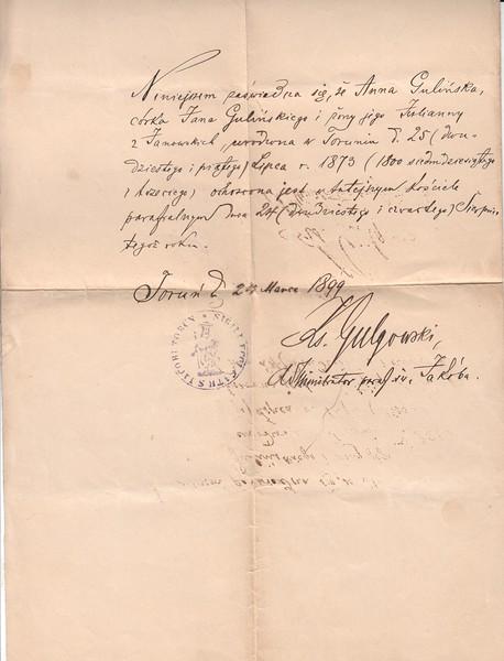 Anna Gulinski Mueller certificate of baptism, 1899