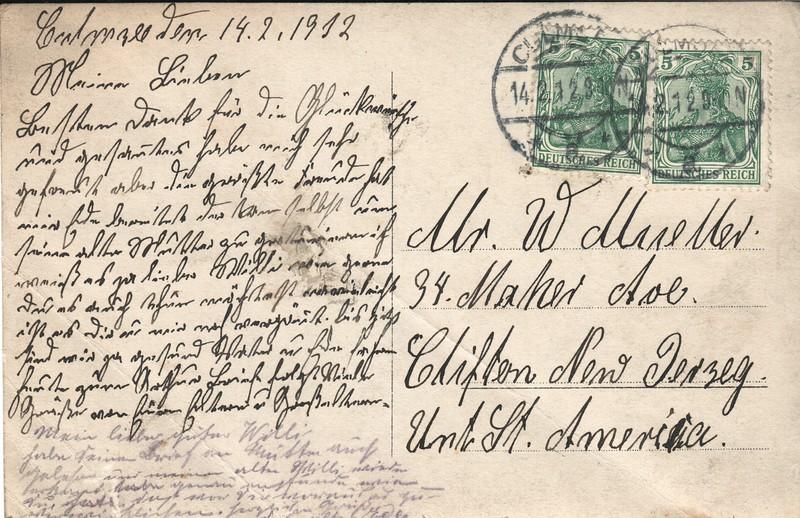 1912 postcard - message side