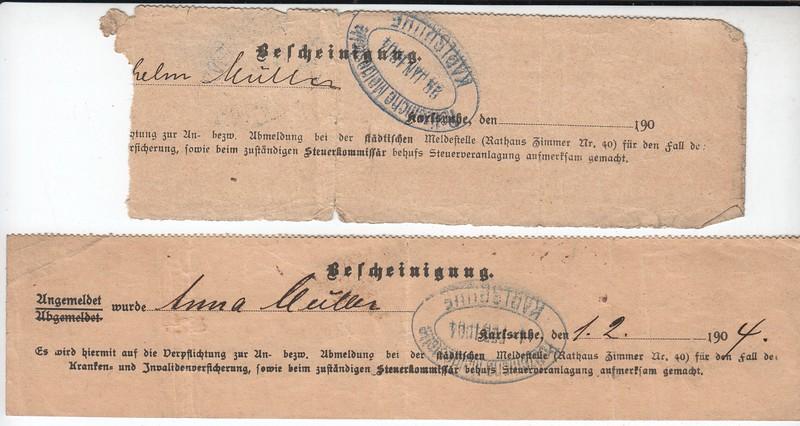 William and Anna Mueller, tickets to US, 1904