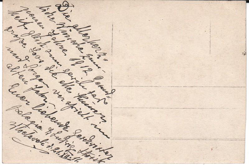 Message on photo postcard of Pelagia(?) & Ludwig Stosik, Dec. 1911
