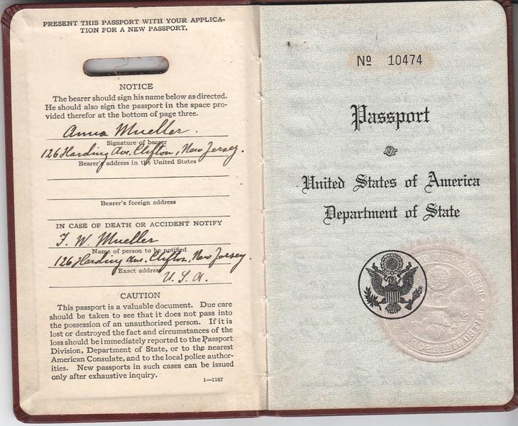 Anna Mueller, 1929 passport front pages