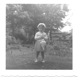age 2 1/2 - backyard of Grandma MacInnes's house in Oriliia, ON
