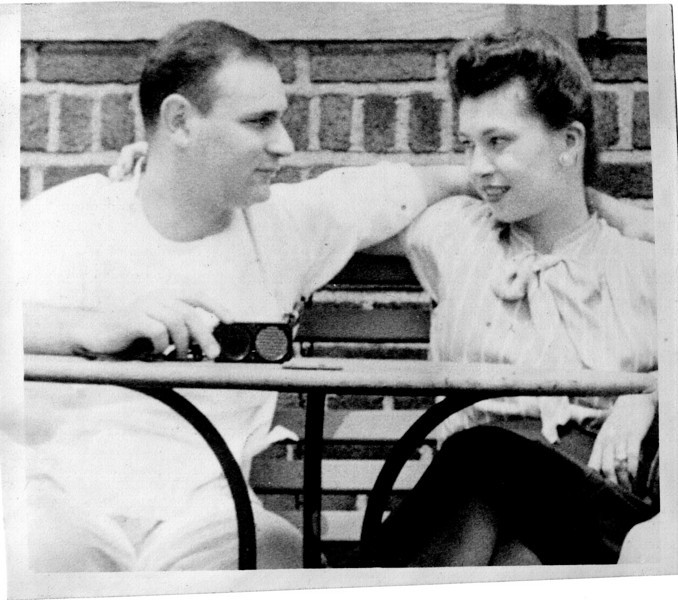 Carl Rothschild, Naomi Bloom<br /> Roof of the Hospital for Joint Diseases<br /> 124th and Madison Avenue, NY, NY<br /> <br /> c1946