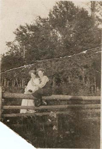 Elsie Anderson and Marg. Oneson taken in Ephraim, WIs. in Oct. 1923 by the sand beach