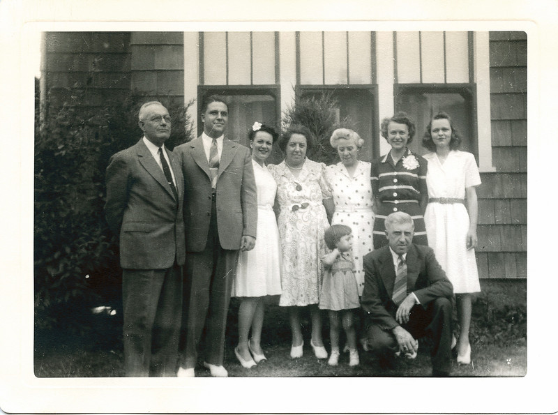 Nolin Family.  Left to right, Arthur, Len Blanchette, Erline (Nolin) Blanchette, Grace (Bailey) Menard, Vivian Menard, Annie (Boucher) Nolin, Vivian Nolin, Eugene Menard, and Rita Nolin, about 1944