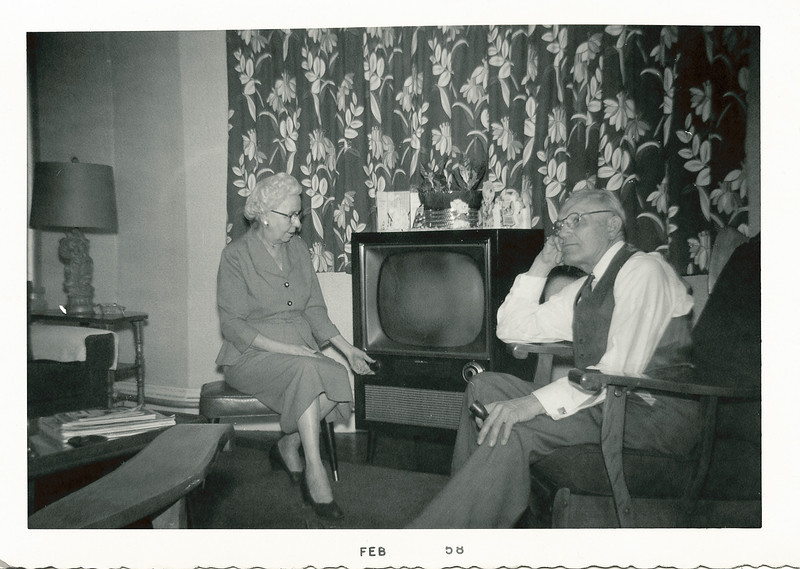 Annie (Boucher) and Arthur Nolin, enjoying their new television at their apartment in Springfield, Massachusetts, 1958