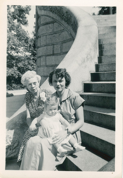 Annie (Boucher) Nolin, on left, with daughter Rita and granddaughter Barbara Macken, 1949
