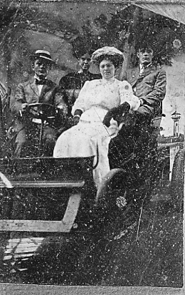 Annie Boucher and Arthur Nolin, in back seat, about 1910