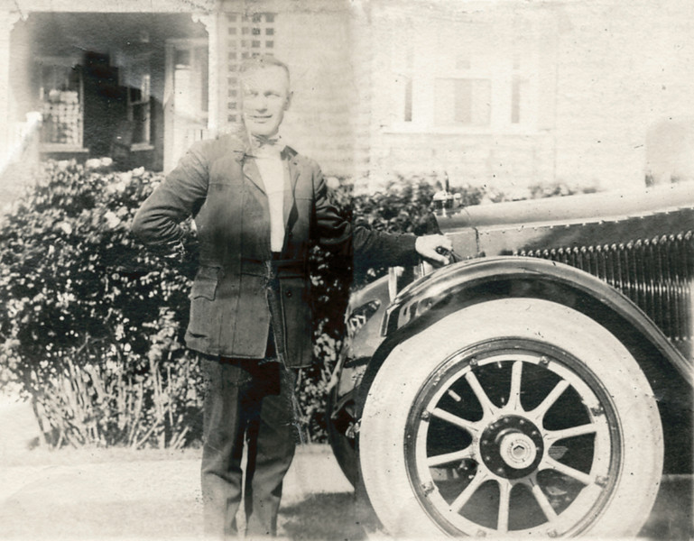 Arthur Nolin, with the Bentley he drove a private chauffeur, 1920s