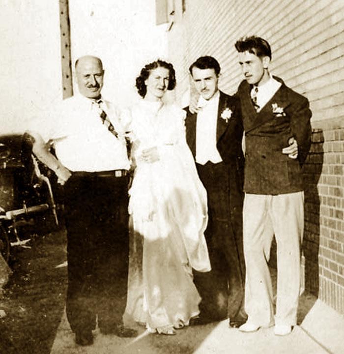 """Wedding day, Giuseppe Lombardi, Adelia (Ellero) Lombardi & Guy Lombardi, Modesto """"Marty"""" Lombardi 1939"""