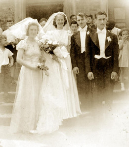 Wedding day, Adelia (Ellero) Lombardi & Guy Lombardi, 1939