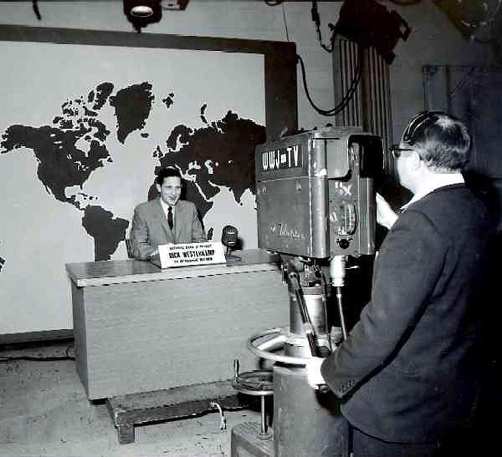 Dick Westerkamp, WWJ-TV 11:00 news announcer, Detroit, Mar. 11, 1958 (Michigan Bell Telephone Co. photograph collection, Box 19)