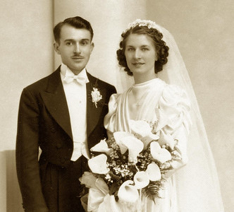 Wedding Photo, Guy Lombardi & Adelia (Ellero) Lombardi, 1939
