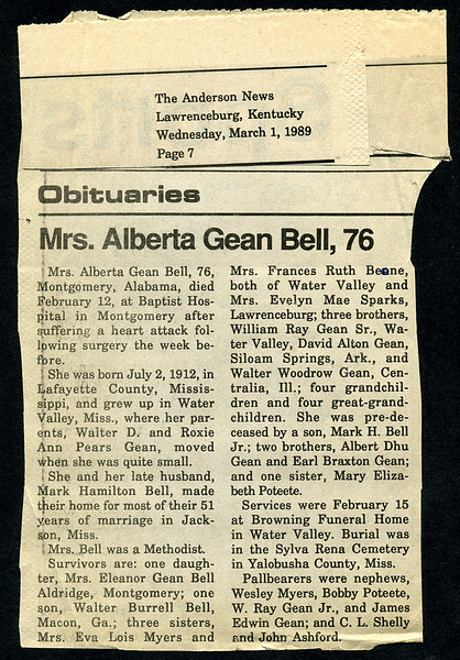 Alberta Gean<br /> Mrs. Mark H. Bell<br /> July 2, 1912 - February 12, 1989<br /> <br /> The Anderson News (Lawrenceburg, KY)
