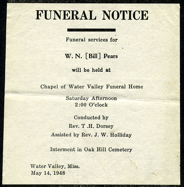 "William Nolen ""Bill"" Pears<br />  - December 13, 1948<br /> <br /> Funeral Home Notice"