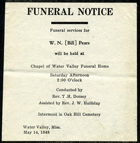 "William Nolen ""Bill"" Pears<br />  - December 13, 1948<br /> <br /> Funeral Home Notice"