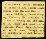 Evelina Elizabeth Hyde<br /> Mrs. George Pears<br /> December 20, 1858 - September 5, 1947<br /> <br /> Society Note from<br /> North Mississippi Herald (Water Valley MS)