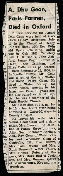 Obituary of Albert Dhu Gean<br /> September 26, 1900 - July10, 1969<br /> North Mississippi Herald, Water Valley MS<br /> (date unk; likely Thursday, July 17, 1969)
