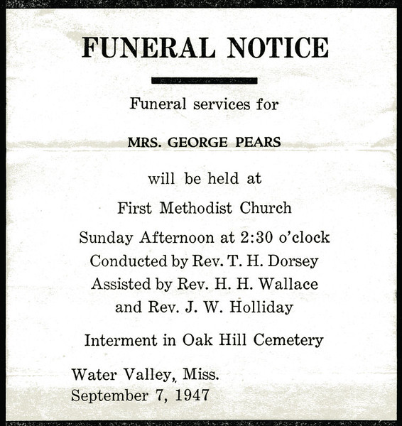 Evelina Elizabeth Hyde<br /> Mrs. George Pears<br /> December 20, 1858 - September 5, 1947<br /> <br /> Funeral Home Notice