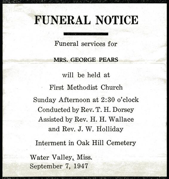 Evelina Elizabeth Hyde<br /> Mrs. George Pears<br /> December 20, 1858 - September 5, 1947<br /> <br /> Funeral Home Notice