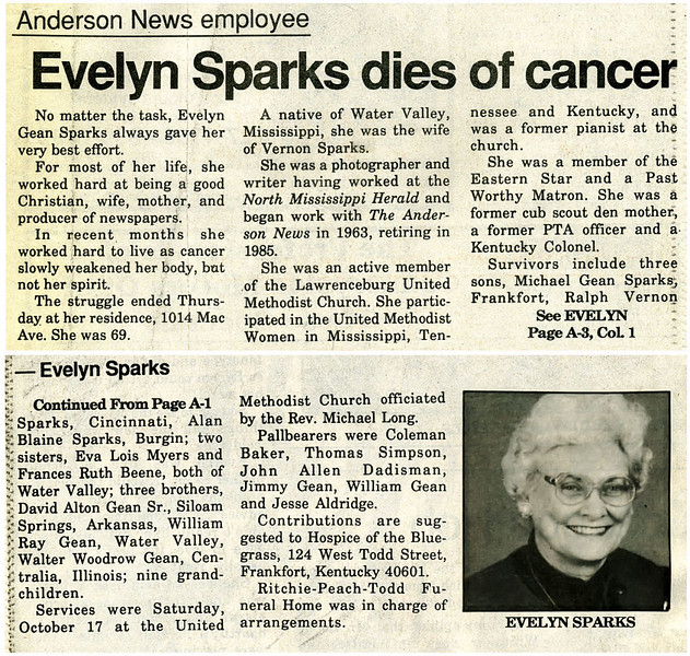 Evelyn Mae Gean Sparks<br /> Mrs. Vernon D. Sparks<br /> October 23, 1922 - October 16, 1992<br /> <br /> The Anderson News  October 21,1992