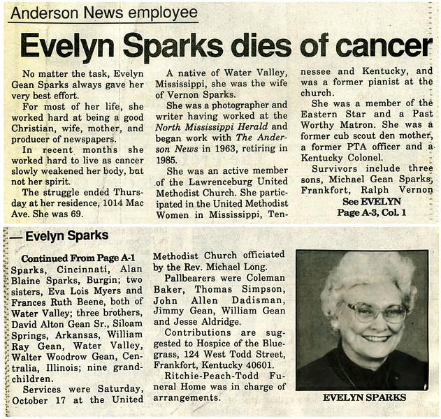 Evelyn Mae Gean Sparks<br /> Mrs. Vernon D. Sparks<br /> October 23, 1922 - October 16, 1992<br /> <br /> The Anderson News  October 21,1992