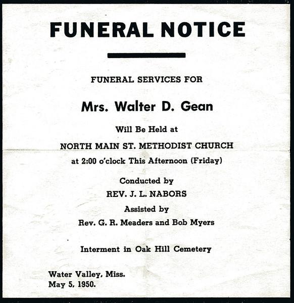 Roxie Ann Pears<br /> Mrs. Walter Diggs Gean<br /> December 18, 1881 - May 4, 1950
